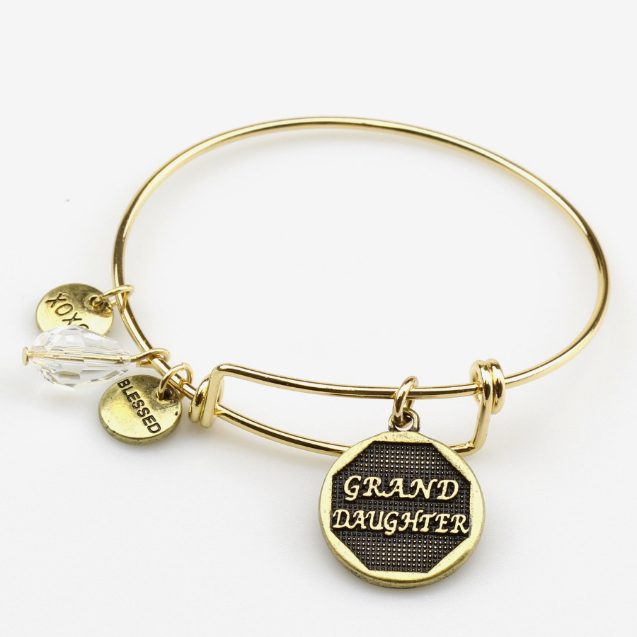 GOLD YOUTH SIZE BRACELET W/ DANGLES-GRANDDAUGHTER