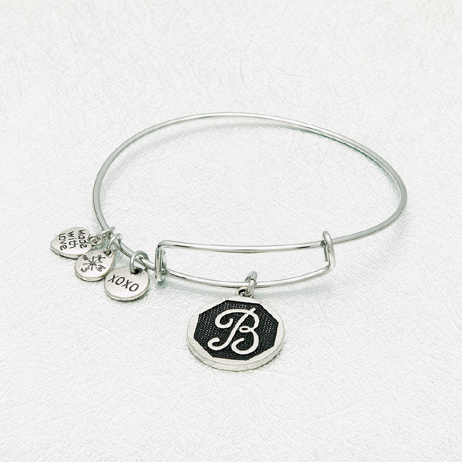 YOUTH SIZE STAINLESS STEEL FLEX BANGLE; letter J
